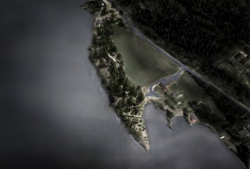 "Aerial rendering of Jonas Dahlberg, ""22 July Memorial at Sørbråten"""