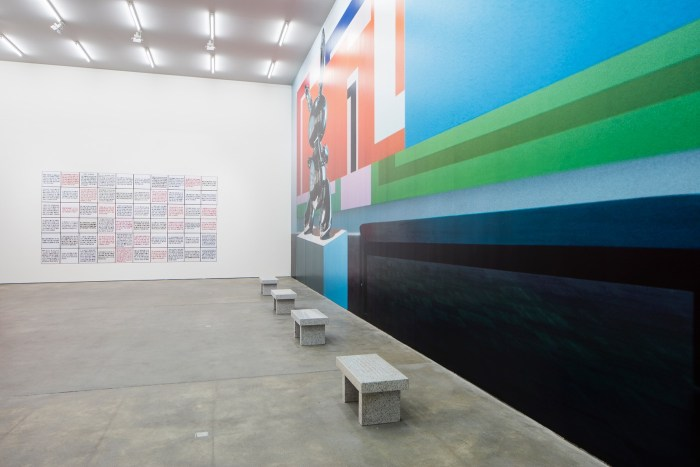 Installation view (Jenny Holzer and Louise Lawler), 'Eau de Cologne', Spruth Magers, Los Angeles (All photography by Timo Ohler unless otherwise noted)