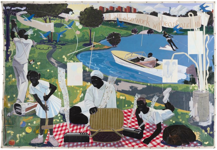 """Kerry James Marshall, """"Past Times"""" (1997), Metropolitan Pier and Exposition Authority, McCormick Place Art Collection (photo by Nathan Keay, © MCA Chicago)"""