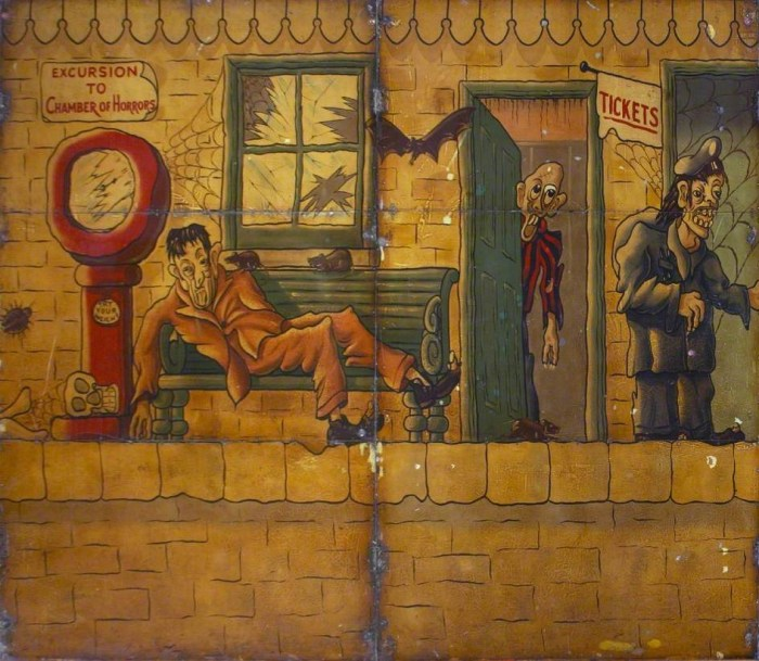 Hall & Fowle, Brett's Ghost Train (backdrop) (1948-49), oil on metal (courtesy the Fairground Heritage Trust)