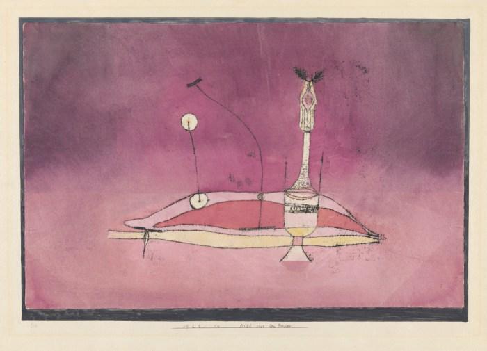 "Paul Klee, ""Bild aus dem Boudoir Image tirée du boudoir"" (1922), copy in oil and watercolor on paper on card (courtesy Zentrum Paul Klee, Berne)"