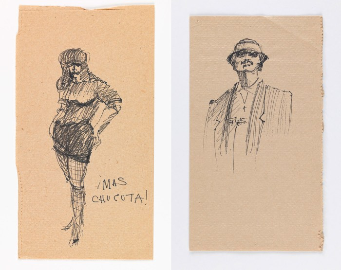 Left: José Montoya, Untitled, date unknown, ink on paper (courtesy of the Montoya Family Trust); right: José Montoya, Untitled, date unknown, ink on paper, (courtesy of the Montoya Family Trust)
