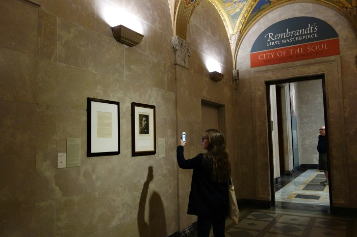 Installation view of 'Celebrating 100 Years of Einstein's General Theory' at the Morgan Library & Museum (photo by the author for Hyperallergic)