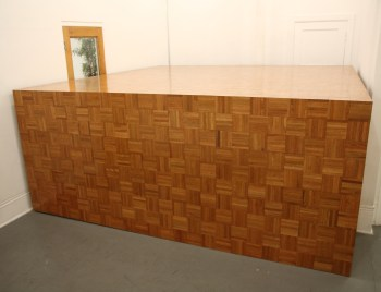 "Wade Guyton, ""the Room Moved the Way Blocked (Stage 1)"" (1998), parquet wood floor, 16 x 15 x 5 ft"