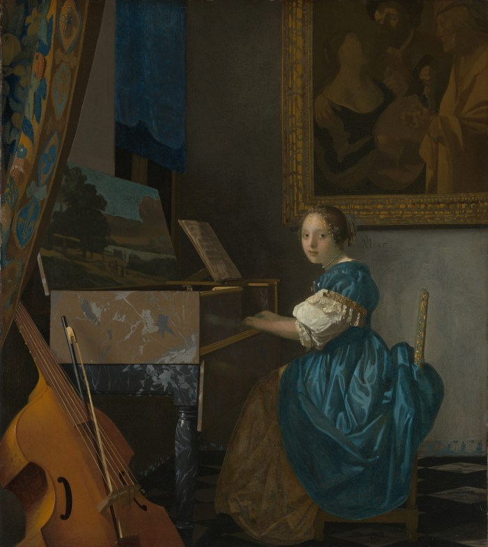 """Johannes Vermeer, """"A Young Woman Seated at a Virginal"""" (1670-72), oil on canvas. Lapis lazuli used in the curtain, to highlight the woman's arms, and mixed with green earth for the blue-green of the dress. (via National Gallery, London/Wikimedia)"""