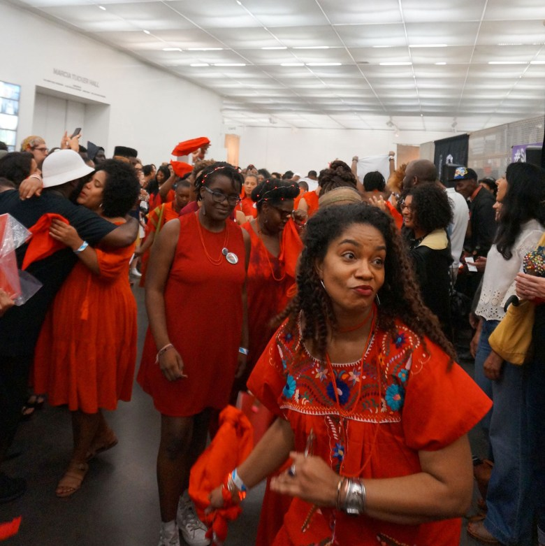 Closing processional for Black lives, Black Women Artists for Black Lives Matter at the New Museum (photo by the author for Hyperallergic)