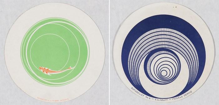 """Marcel Duchamp, """"Rotorelief No. 5 – Poisson Japonais"""" (recto) and """"Rotorelief No. 6 – Escargot – Modèle Déposé"""" (verso) (1935) (click to enlarge)"""