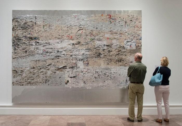 "Installation view of 'Shade: Clyfford Still / Mark Bradford' at the Albright-Knox Art Gallery featuring Mark Bradford's ""Mississippi Gottdam"" (2007) (courtesy the Albright-Knox Art Gallery, photo by Tom Loonan)"