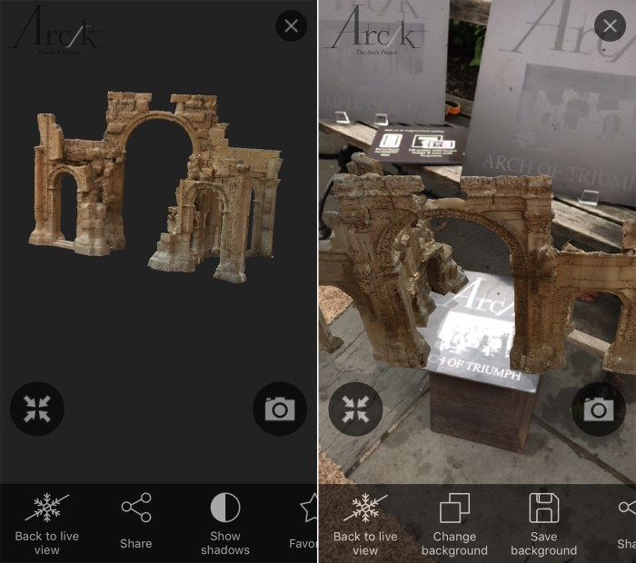 Screenshots of the augmented reality app