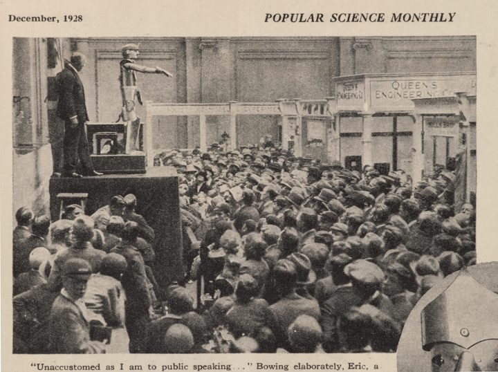 Popular Science Monthly (December 1928) showing Eric the talking robot opening the Model Engineering Exhibition in Londo (courtesy Science Museum SSPL)