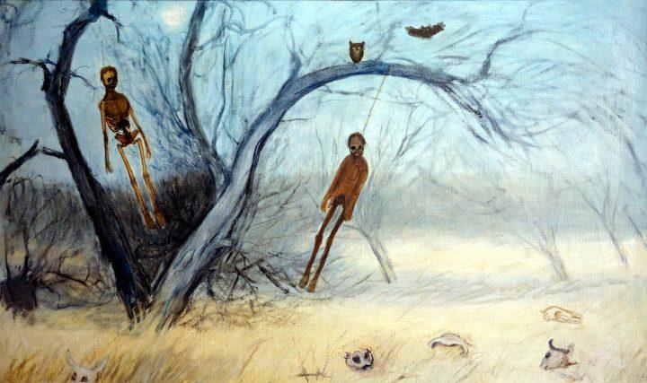 "Francisco Goitia, ""Zacatecas Landscape with Hanged Men I"" (c. 1914) (courtesy the Philadelphia Museum of Art)"