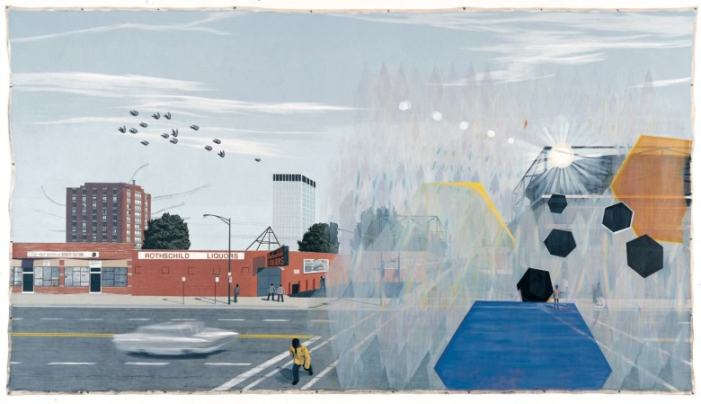 "Kerry James Marshall, ""7 am Sunday Morning"" (2003) Acrylic on canvas 10 × 18 ft."