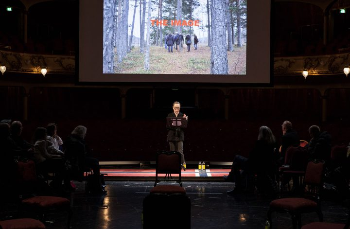 "Marianne Heier speaking at ""Public Calling"" (photo by Ingvild Brekke Myklebust)"