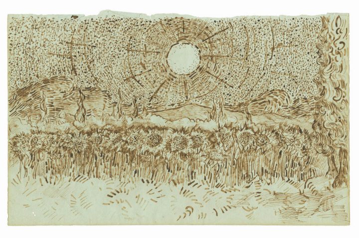 """Field of Sunflowers"" (August–September 1889), one of 65 drawings attributed to Vincent van Gogh and published in the forthcoming title, Vincent van Gogh: The Lost Arles Sketchbook,"