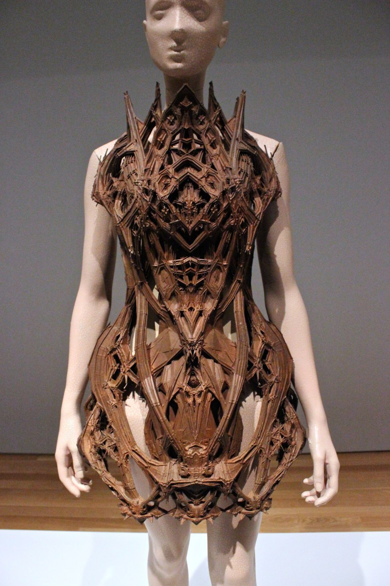 Iris van Herpen, Micro, Dress, January 2012, In collaboration with IsaÏe Bloch and Materialise, 3D-printed polyamide with art copper treatment.