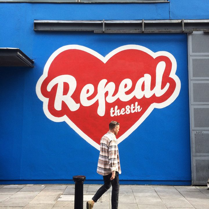 "Maser with his ""Repeal the 8th"" mural on the exterior of Project Arts Center in Dublin (photo courtesy the HunReal Issues)"