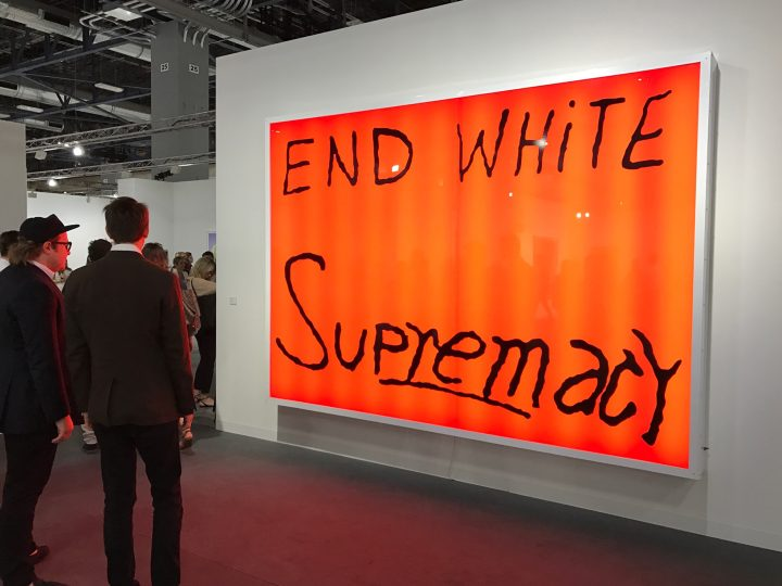 "Sam Durant, ""End White Supremacy"" (2008) at Blum & Poe's booth at Art Basel Miami Beach 2016 (photo by Hrag Vartanian/Hyperallergic)"