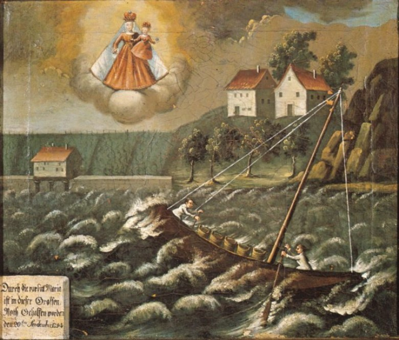 Ex voto oil on canvas painting from 1794 of a ship in distress (via Städtisches Museum Überlingen/Wikimedia)