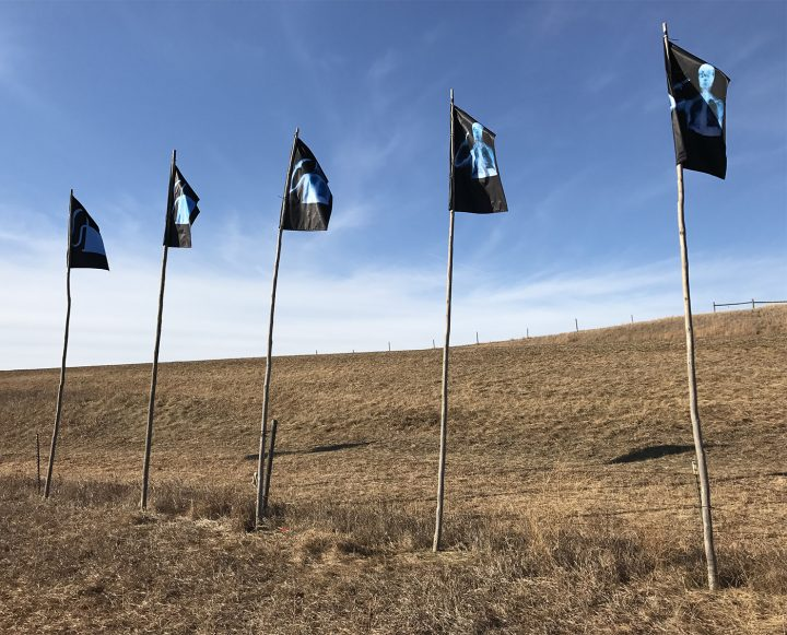 A view of the flags at Standing Rock