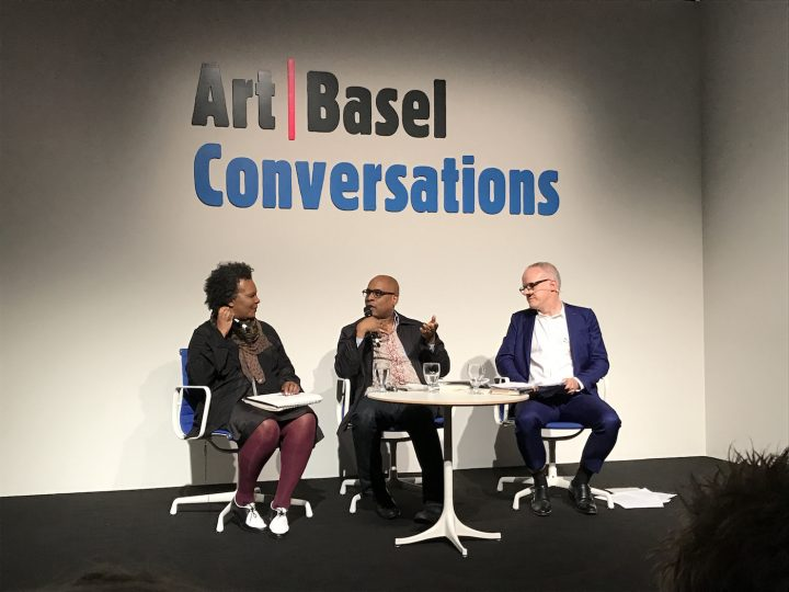 Claudia Rankine, Glenn Ligon, and Hans Ulrich Obrist in conversation at Art Basel Miami Beach 2016