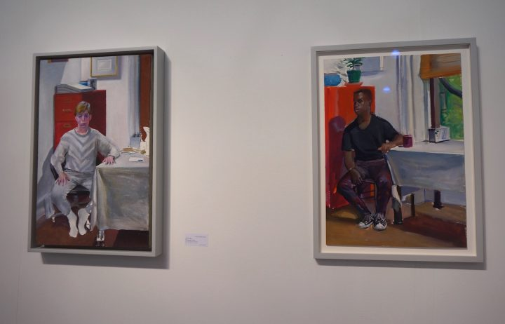 Two paintings by Peter Angus at Galerie Thomas Fuchs's booth