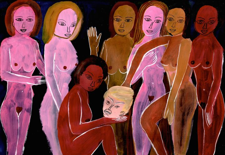 """Arrington de Dionyso, """"Maenads at the Million Woman March"""" (2016), acrylic ink and acrylic paint on paper (all images courtesy the artist)"""