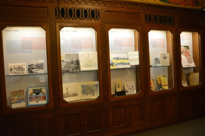 Installation view of 500 Years of Utopia (courtesy USC Libraries)