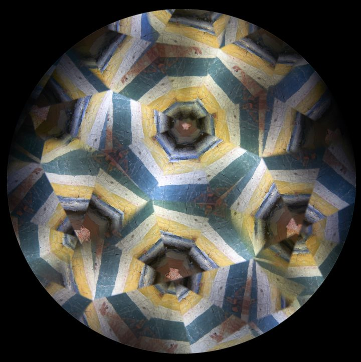 Kaleidoscope image of frescoes from Khandroma: Himalayan Wind (photo by Stephan Crasneanscki)