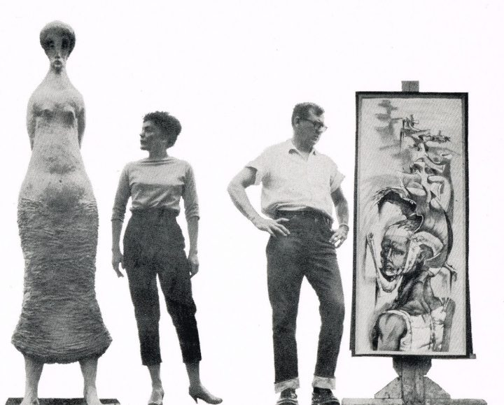 "Maxine Kim Stussy and Jan Stussy in promotional flyer for ""Feitelson on Art,"" KRCA-TV, 1957 (via woodbury.edu)"