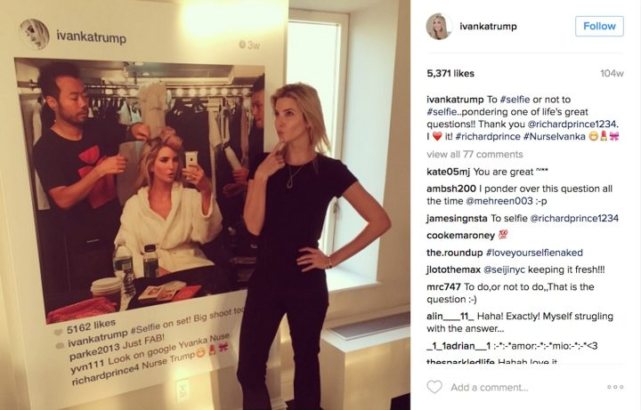 Ivanka Trump with her not-Richard Prince portrait (screenshot by the author via @ivankatrump/Instagram)