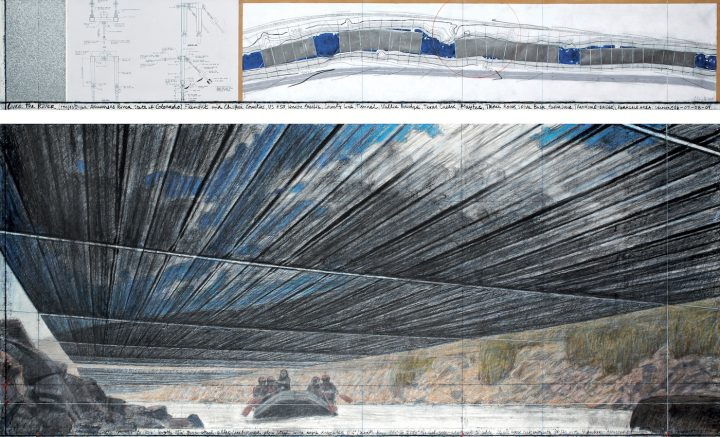 """Christo and Jeann-Claude, """"Over The River (Project for Arkansas River, State of Colorado)"""" (2010), pencil, pastel, charcoal, wax crayon, enamel paint, wash, fabric sample, hand-drawn topographic map, and technical data, 15 x 96 in and 42 x 96 in (photo by André Grossmann, © 2010 Christo)"""