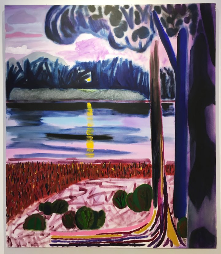 "Shara Hughes, ""Lake Norway"" (2016), oil and enamel on canvas, 60 x 52 in, Rachel Uffner, NADA Miami Beach 2016 (all photos by the author for Hyperallergic)"