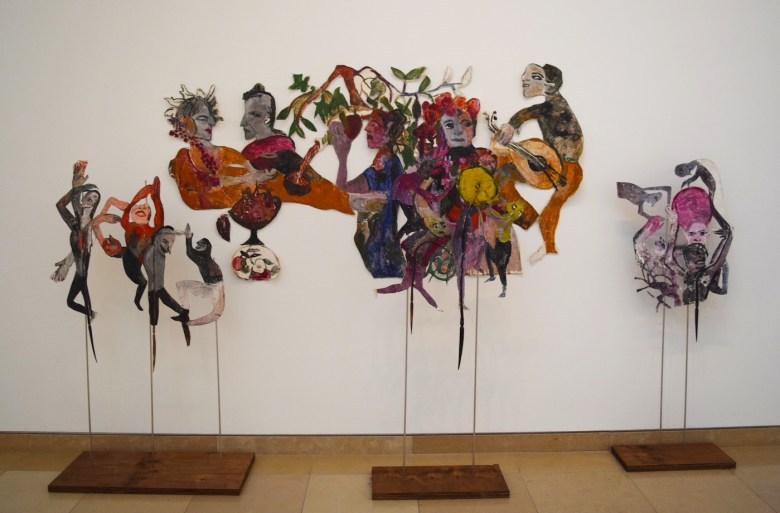 """Anna Boghiguian, """"The Procession of Dionysus"""" (2015–16), cut-outs and mixed media"""