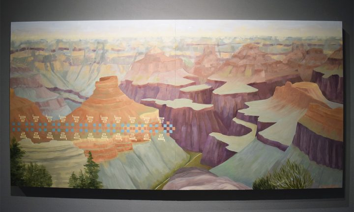 """Kay WalkingStick, """"North Rim Clouds"""" (2016), in the June Kelly Gallery booth at the 2017 ADAA Art Show"""