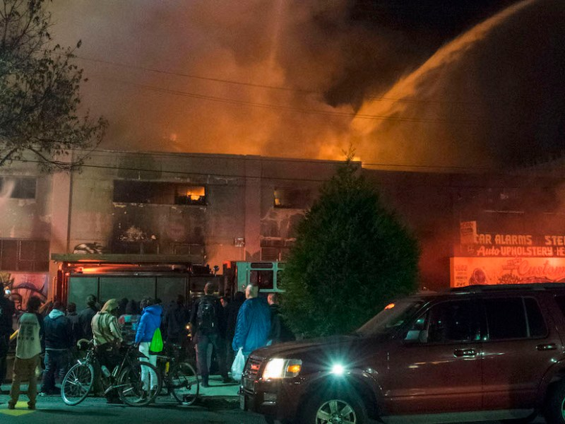 The fire at the Ghost Ship warehouse on December 2, 2017, killed 36. (photo by Julianna Brown, via Wikimedia Commons)