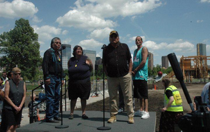 Dakota elders speak at Friday's ceremony at the Minneapolis Sculpture Garden