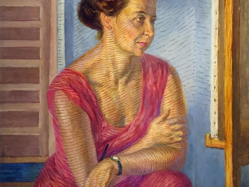 "John Sloan, ""Helen at the Easel"" (1947), casein tempera underpaint, and oil-varnish glaze on panel (some Shiva Ponsol colors used), gift of the John Sloan Trust"