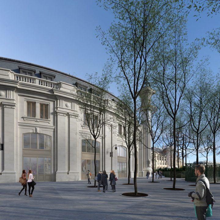 Rendering of the exterior of the Collection Pinault — Paris (image © ArtefactoryLab; Tadao Ando Architect & Associates; NeM / Niney & Marca Architectes; Agence Pierre-Antoine Gatier; courtesy Collection Pinault — Paris)