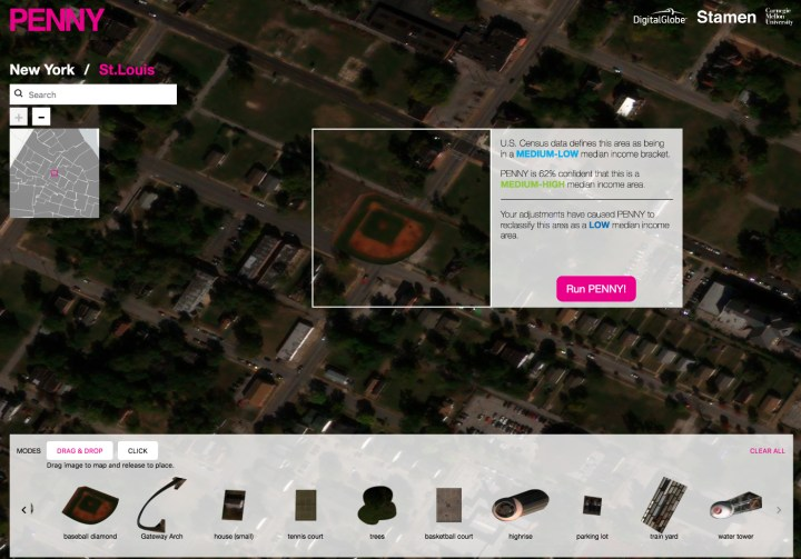 Adding a baseball diamond to a St. Louis lot on the Penny artificial intelligence map system (all screenshots by the author for Hyperallergic)