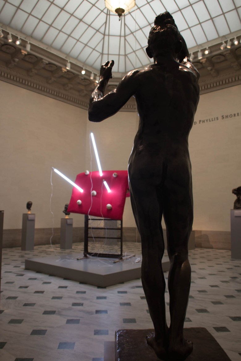 """""""Age of Bronze"""" (1876) by Auguste Rodin confronting """"My Disease"""" (2017) by Sarah Lucas."""