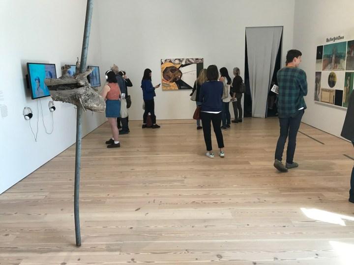"Installation view of the 2017 Whitney Biennial with Dana Schutz's ""Open Casket"" (2016) at center (photo Hrag Vartanian/Hyperallergic)"
