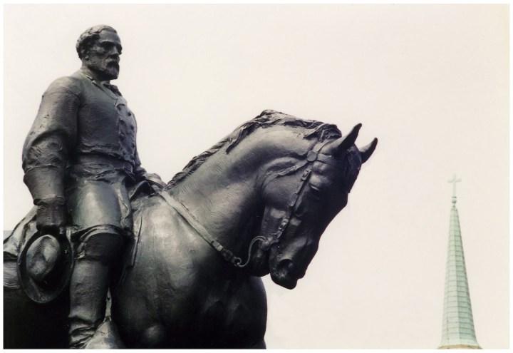Detail of Charlottesville's Robert E. Lee Monument (photo by Carptrash, via Wikimedia Commons)