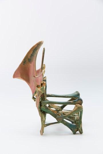"""Eugene Von Bruenchenhein, """"untitled (bone chair)"""" (1965–70), fowl bones, paint, glue, wire, toothpicks (courtesy John Michael Kohler Arts Center Collection, photo by Rich Maciejewski)"""