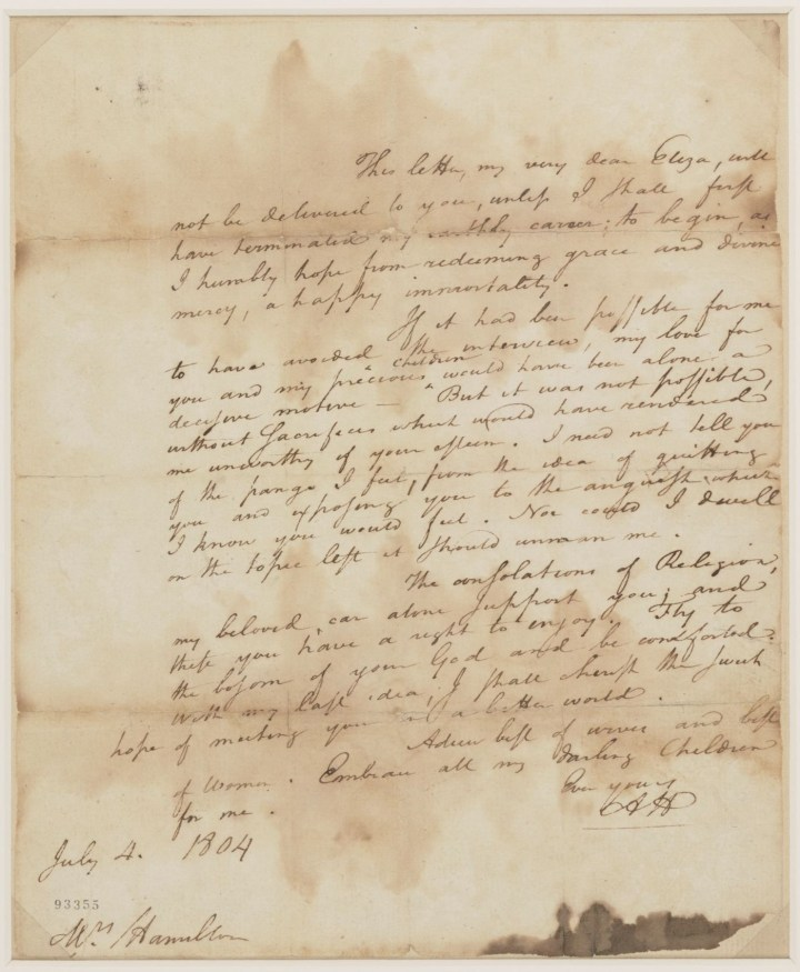 Letter from Alexander Hamilton to Elizabeth Schuyler Hamilton (July 4, 1804), written shortly before his duel with Aaron Burr (courtesy Alexander Hamilton Papers, Manuscript Division, Library of Congress)