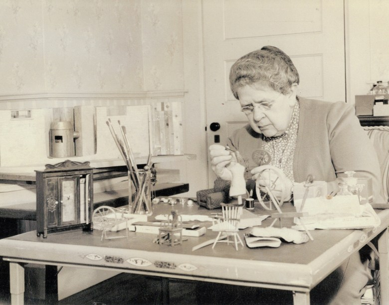 Frances Glessner Lee at work on the Nutshells in the early 1940s (courtesy Glessner House Museum, Chicago)