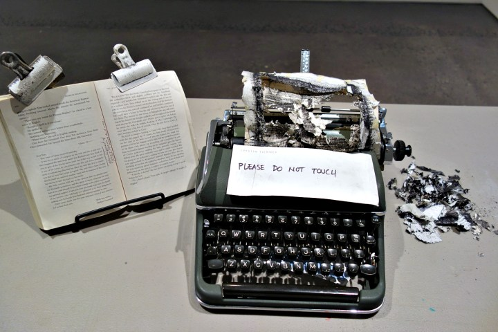 The completed typing by Tim Youd of Patricia Highsmith's <em srcset=