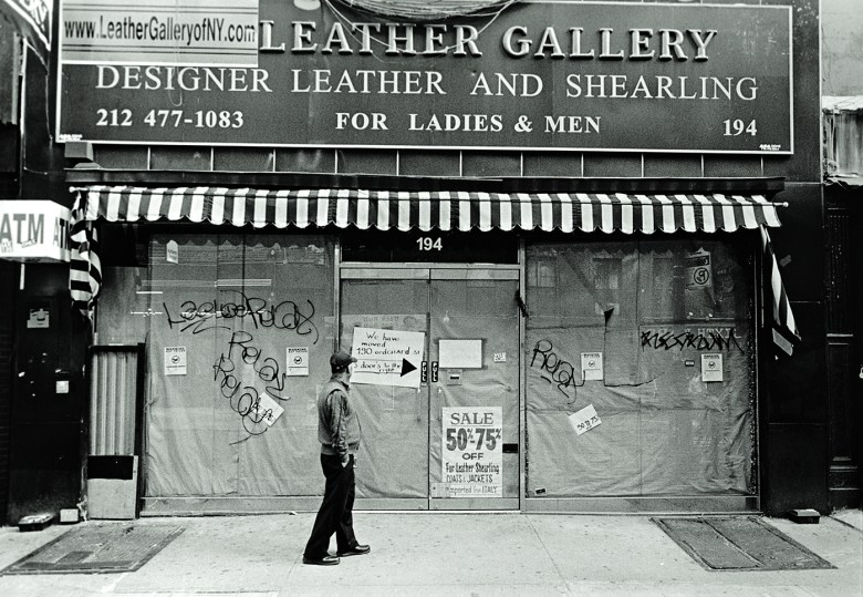"""Janet Russek and David Scheinbaum, """"Leather Gallery, Orchard Street"""" (2013) from <em srcset="""