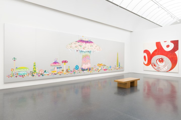 Installation view, Takashi Murakami: The Octopus Eats its Own Leg at the MCA Chicago (photo by Nathan Keay, © MCA Chicago)