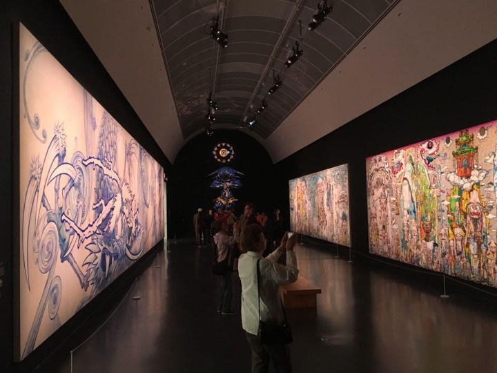 Installation view, Takashi Murakami: The Octopus Eats its Own Leg at the MCA Chicago (photo by the author for Hyperallergic)