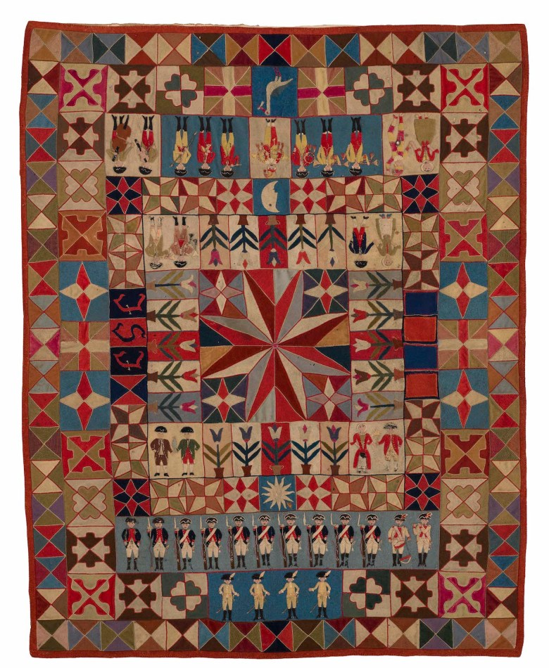 """Intarsia Quilt with Soldiers and Musicians by an unidentified artist; initialed """"J.S.J."""" (Prussia, 1760–80), wool, with embroidery thread; intarsia; hand-appliquéd and hand-embroidered, 55 x 43 inches (courtesy the Annette Gero Collection, photo by Tim Connolly, Shoot Studios)"""